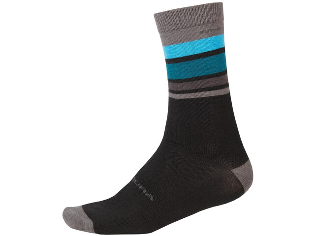 Endura BaaBaa Merino Stripe Socks Men, negro/Multicolor